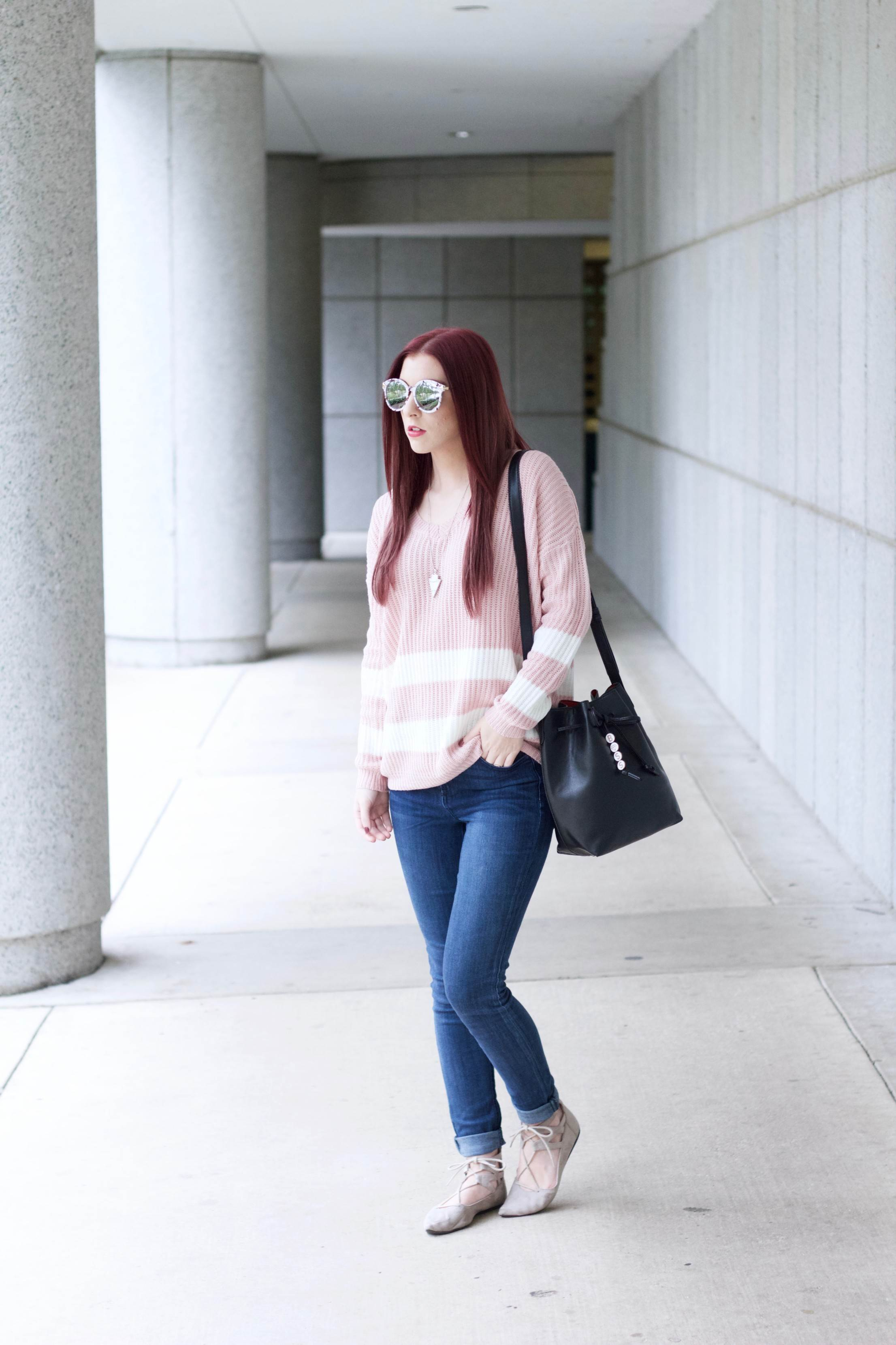 Pink About It: Keeping Cozy in Varsity Stripes // She Saw Style