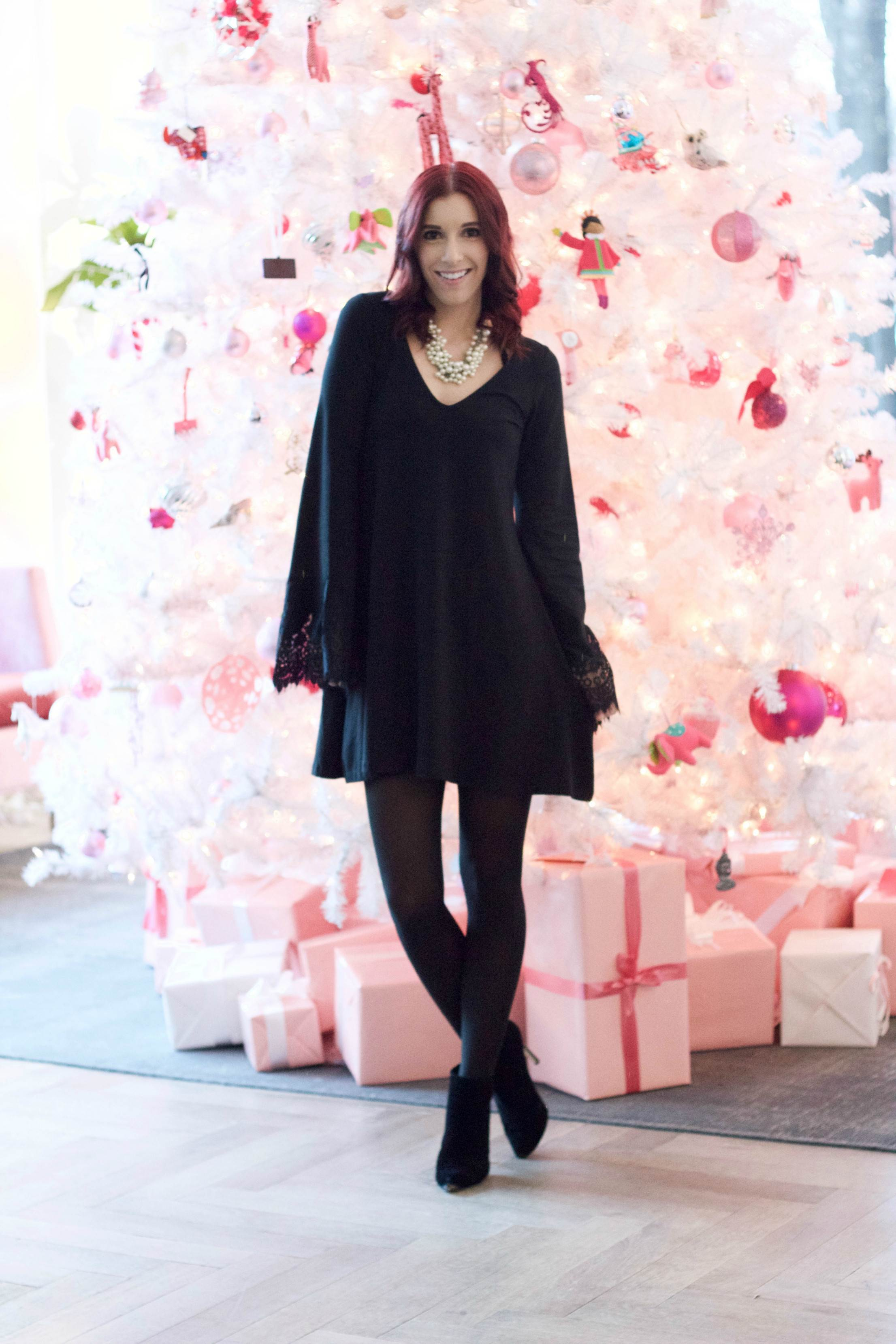 A Very Berry Christmas Backdrop: Pink Trees and LBDs // She Saw Style